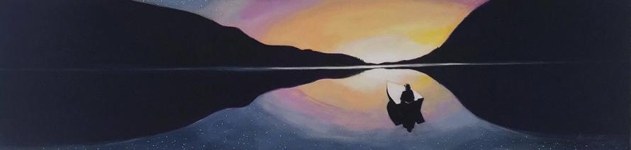 peinture, henriette gagnon, étoile, nuit