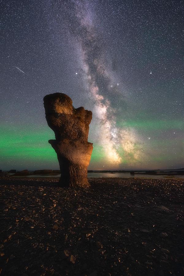 mingan, fleuve, étoile, nuit, voie lactée, monolithe